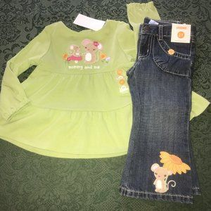 NWT gymboree 2t sunflower smiles top jeans outfit
